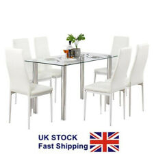 Glass Dining Table Fixed Table Chair Sets With 6 Items In Set For Sale Ebay