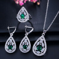 CWWZircons Fashion Green CZ Stone Earrings Necklace Ring Jewelry Sets for Women