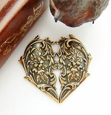 ANTIQUE BRASS Victorian Floral Heart Flower Stampings - Oxidized Finding (FC-10)