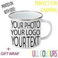Custom Personalised Enamel Mug Photo Any Text Logo Personal Innoglen