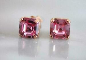 3.50Ct Asscher Cut Red Ruby Solitaire Stud Earrings Solid 14K Rose Gold Finish