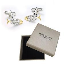 Mens Silver & Gold Fish Bone Cufflinks & Gift Box By Onyx Art