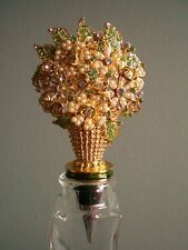 OLIVIA RIEGEL Crystal & Enamel Large Bouquet Bottle Stopper New in Box