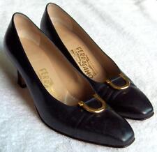 Vintage Salvatore FERRAGAMO couture ladies shoes~Navy blue pumps~orig box-NR