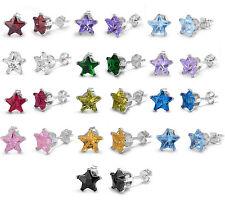 925 Sterling Silver CZ Womens Baby Girls Birthstone Star Stud Earrings 4 to 8mm