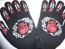 paire de gants noirs, tête de mort rouges motifs blancs taille unique