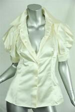 PRADA Ivory Button Down Blouse Cream Shoulder Pleat Top Shirt 40 NEW