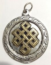 Tibetan Endless Knot Design Metal Amulet Medallion Pendant. From the Himalayas!