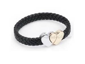 Black Leather Braided Heart Magnetic Clasp Bracelet