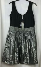 LADIES WOMENS EVIE CASUALS BLACK SILVER SEQUIN DRESS SIZE 12 BRAND NEW