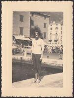 YZ1177 Riva del Garda - La Piazza - Animata - Fotografia d'epoca - 1956 photo