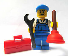 LEGO Minifigure Figure Builder Workman Plumber With Spanner Tool box Plunger