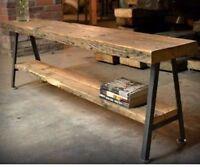tavolo consolle 180 x 40 legno massello invecchiato e struttura in ferro