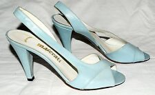 Maserati Blue Leather Peep Toes Slingbacks Heels Sz 5.5 M Itay NEW with Defects