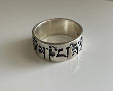 Tibetan Om Mani Padme Hum 925 Sterling Silver Band Ring Sz 8.5 7.2g