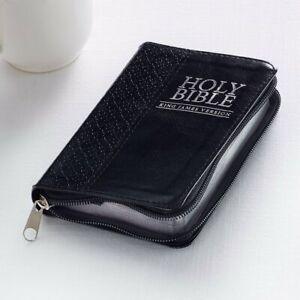 KJV Mini Pocket Bible Black LuxLeather with Zipper