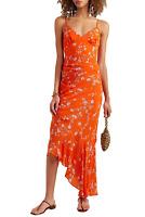 NICHOLAS Asymmetric Ruched Orange Floral V-Neck Silk-Chiffon Midi Slip Dress 12