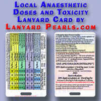 Local Anaesthetic Safe Doses and Toxicity Management   Lanyard Card