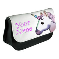 Personalised Girls Unicorn Emoji Pencil Case Make Up Bag School Kids Custom New