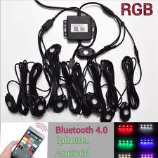 8PCS Wireless Mini Bluetooth LED RGB Rock Lights Under Glow Wheel Off-road #6