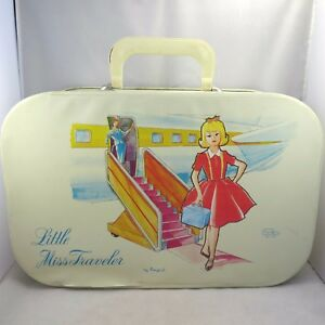 Vintage Ponytail Little Miss Traveler Girls Overnight Weekend Carry-On Suitcase