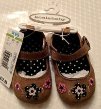New Koala Baby Adorable Mary Jane Light Brown Suede Pink Flower Shoes Size 1