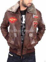 Aviatrix Mens Nevada Brown Bugatti Pilot Flying Bomber Style Leather Jacket