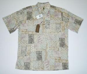 TORI RICHARD Hawaiian Pullover Shirt BROWN PLATE Aloha Tiki Cotton $72 NWT Md