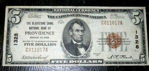 Providence, Rhode Island RI 1929 $5 Ch. 1328 The BLACKSTONE Bank.