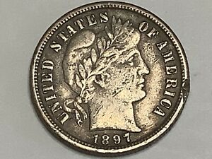1897-S. Barber Dime 90% Silver 10% Copper  **Free Shipping **