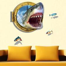 New 3D Shark Ocean Fish Animal Wall Sticker Decal Window Home Kids Room Decor GA