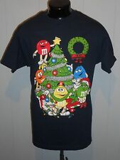M&M'S MEN'S T SHIRT L DECORATING THE CHRISTMAS TREE BLACK S.SLEEVE HOLIDAY