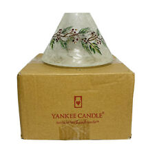 Yankee Candle Shade FROSTED PINE crackle glass Holly Berry Large Jar Winter Snow