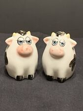 """Vintage Cow Salt And Pepper Shaker Round And Happy With Long Eyelashes 2-3/4"""""""