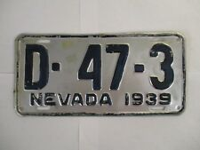 1939 Nevada DEALER  License Plate Tag