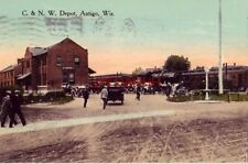 C. & N.W. DEPOT, ANTIGO, WI 1915 vintage autos wait for travelers