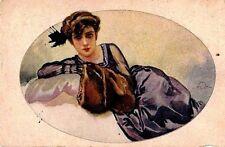 ALEARDO TERZI Donnina Elegante Sofà Glamour Fashion PC Italy Viaggiata 1918