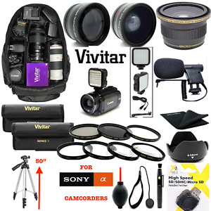COMPLETE ACCESSORY KIT LENSES BACKPACK FILTERS TRIPOD FOR  SONY FDR-AX53 4K