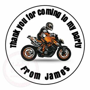 Personalised Birthday Stunt Motor Cross Bike Round Stickers Party Sweet Cones