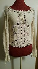 NWT Beautiful  Ladies ONE STEP UP Beige Knit Top Size M