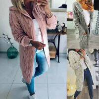 New Womens Chunky Cable Knitted Oversized Longline Hooded Cape ladies Cardigan