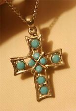 Handsome Openwork Facet Light Blue Beaded Silvertone Cross Pendant Necklace