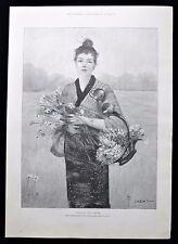 Pitié-sing lady en kimono gathering fleurs victorian genre imprimer 1890