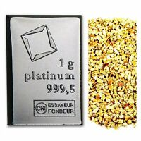 1 GRAM VALCAMBI .9995 FINE PLATINUM BAR + 10 PIECE ALASKAN PURE GOLD NUGGETS