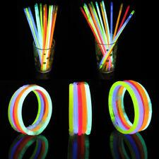 """10pcs 8"""" Glow Sticks Bracelets Necklaces Neon Colours Party Favors Rave Disco"""