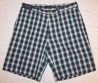 Polo Ralph Lauren Mens Blue Green Plaid Cotton Flat-Front Shorts NWT Waist 38