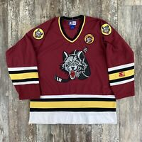 Vintage IHL Chicago Wolves The Wolf Pack Starter Stitched Hockey Jersey Size XL