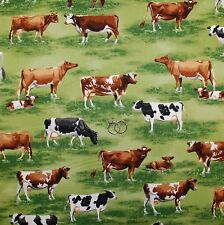 BonEful Fabric Cotton Quilt Green Grass Cow Country Dairy Farm Scenic Sale SCRAP