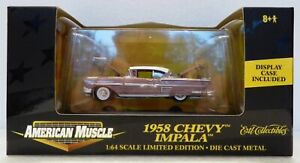 ERTL AMERICAN MUSCLE 1/64 1958 CHEVY IMPALA W/ DISPLAY CASE, GOOD CONDITION