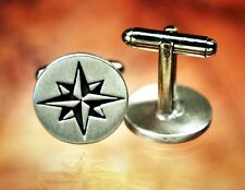 Compass Rose Cufflinks | Star Cuff Link | Nautical | Travel | Handcrafted Pewter
